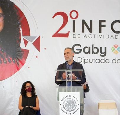 Ramírez Cuéllar asistió al Segundo Informe de Actividades Legislativas de la diputada local por Tlalpan, Gaby Osorio